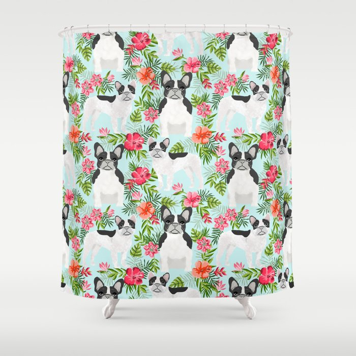 French Bulldog hawaiian print dog breed custom art by pet friendly frenchies Shower Curtain