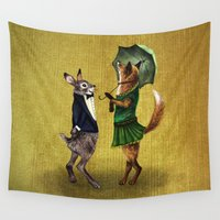hare Wall Tapestries featuring Fox and Hare by Anna Shell