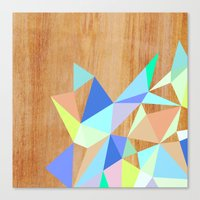 wooden Canvas Prints featuring Wooden Geo Aqua by Jenna Mhairi