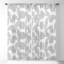 Grey and White Beagle Silhouettes Pattern Sheer Curtain