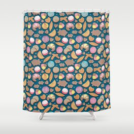 Mexican Sweet Bakery Frenzy // turquoise background // pastel colors pan dulce Shower Curtain