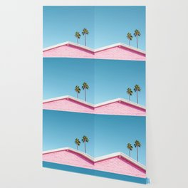 Pink House Roofline with Palm Trees (Palm Springs) Wallpaper
