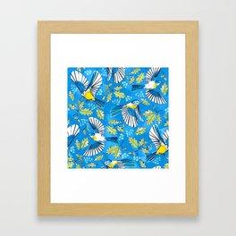 Flying Birds and Oak Leaves on Blue Framed Art Print