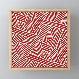 Abstract Navy Red & White Lines and Triangles Pattern Framed Mini Art Print