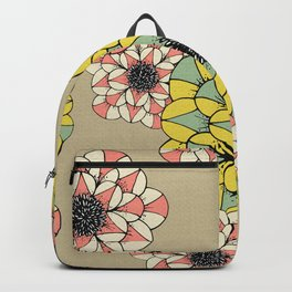 Pink and Yellow Abstract Sketch Flowers Illustrated Pattern Backpack