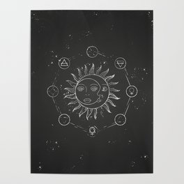 Moon, sun and elements Poster