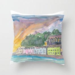Portree Isle of Skye Scotland Sunset Throw Pillow