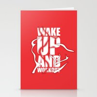 workout Stationery Cards featuring Lab No.4 - Wake Up And Workout Inspirational Quotes poster by Lab No. 4