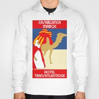 casablanca Hoodies featuring Vintage style 1920s Casablanca travel advertising by aapshop