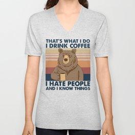 BEAR DRINK COFFE ! Unisex V-Neck