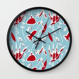 winter floral blue Wall Clock