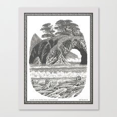 SEASIDE ARCH, BISHOP PINE, AND DRIFTWOOD VINTAGE PEN DRAWING Canvas Print