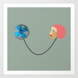 woman fan Art Print