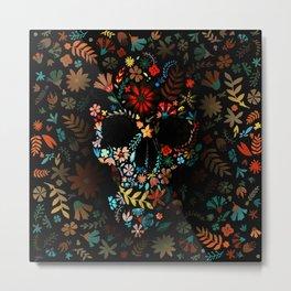 Flowery Skull Metal Print