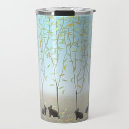 Morning Falling Leaves and Bunnies Travel Mug