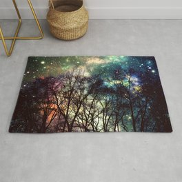 Black Trees Deeply Colorful Space Rug