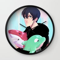 iwatobi Wall Clocks featuring plushies by JohannaTheMad