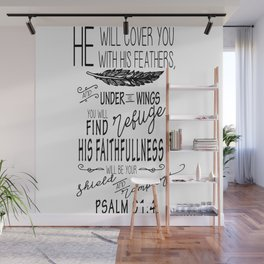 Psalm 91:4 Christian Bible Verse Typography Design Wall Mural