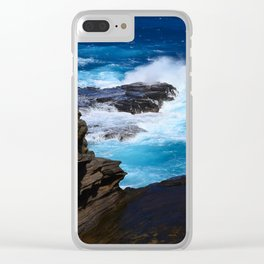 Luxurious, Tropical Ocean Surf in Azure and Turquoise Clear iPhone Case