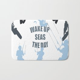 Wake Up Seas The Day Kiteboarder In Teal Shades Bath Mat