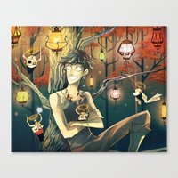 lanterns Canvas Prints featuring Lanterns by Nadiezda