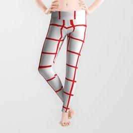 Red Grid Pattern Leggings