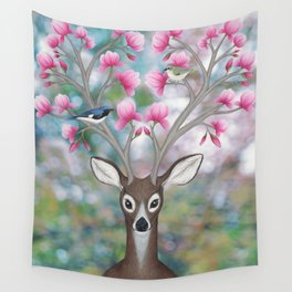 white tailed deer, black throated blue warblers, & magnolia blossoms Wall Tapestry