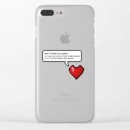 8 Bit Pixel Speech Bubble Heart Clear iPhone Case