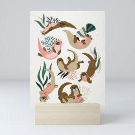 Otter Collection on White Mini Art Print