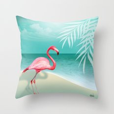 FLAMINGO BEACH | aqua Throw Pillow