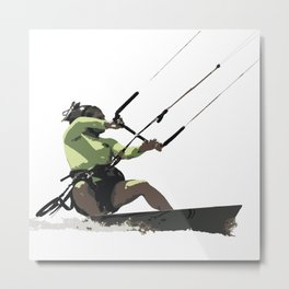 Going With The Wind Kiteboarding Vector Metal Print