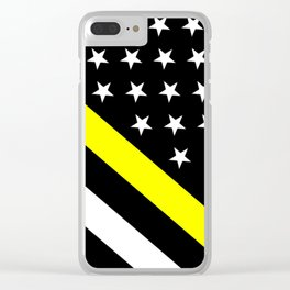 U.S. Flag: Black Flag & The Thin Yellow Line Clear iPhone Case