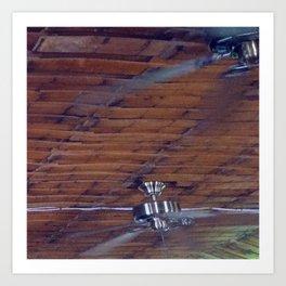 Wood Ceiling, Chrome Fans Art Print