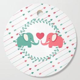 Elephant Love with Arrows Cutting Board