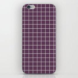 Dark byzantium - violet color - White Lines Grid Pattern iPhone Skin