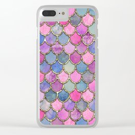 Colorful Pink Mermaid Scales Clear iPhone Case
