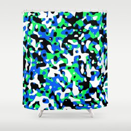 Uncovered Camouflage Neon Blue Shower Curtain