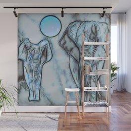 Blue elephants Wall Mural