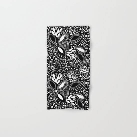 Placer of white beads on a black background . Hand & Bath Towel