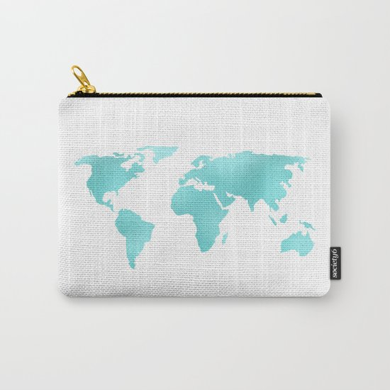 World Map Turquoise Shimmery Map Carry-All Pouch