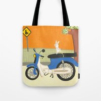 motorbike Tote Bags featuring motorbike by Valeria Cis