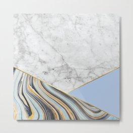 Geometric White Marble - Blue Marble & Light Blue #368 Metal Print
