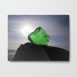 EMERALD GREEN SEA GLASS SUNSET Metal Print