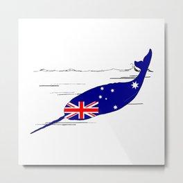 Australian Flag - Narwhal Metal Print
