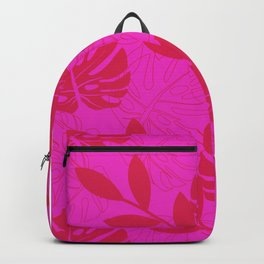 Monstera Leave Red In Red Pattern Backpack