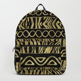 Ethnic and Animal Print  Pattern Black and Gold Backpack