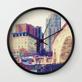 Stone Arch Bridge Wall Clock