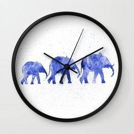 Blue elephants Wall Clock