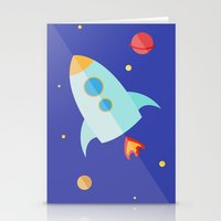spaceship Stationery Cards featuring Spaceship by Marta Perego