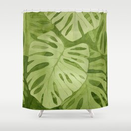 Watercolor Monstera Leaves Shower Curtain